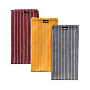 HARORBAY Cotton Dish Towels Set of 3, Multi-Purpose for Cooking Baking (Red Yellow Grey Stripes, 20 x 28 Inch)