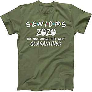 Umeko Womens Seniors 2020 The One Where They were Quarantined T-Shirt Summer Letter Printed Graphic Tees Army Green