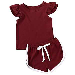 Baby Girls Shorts Set Knit Cotton Ruffle Sleeve T-Shirt Top and Drawstring Shorts Outfit Summer Clothes (Wine red, 12-18 Months)
