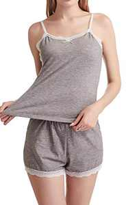 cindyouth Women's Cami Shorts Pajamas Set Soft Stretchy Cotton Lace Sleeveless Sleepwear Loungewear S-XXL