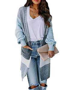 Foshow Womens Boho Long Cardigans Sweater Open Front Color Block Chunky Knit Sweaters Warm Coat with Pockets Blue