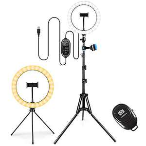 """10"""" Selfie Ring Light with Tripod Stand & Phone Holder & Bluetooth Remote,3 Modes 11 Brightness Levels with 150 LED Bulbs, 6 RGB, LED Ring Light with Stand for Live Stream, Makeup,YouTube"""