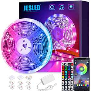 JESLED Smart LED Light Strip Compatible with Alexa,16.4ft Wireless WiFi LED Strip Lights for Bedroom,Remote & APP Control,Color Changing RGB LED Strips for TV,Home,Kitchen,Bar Decoration