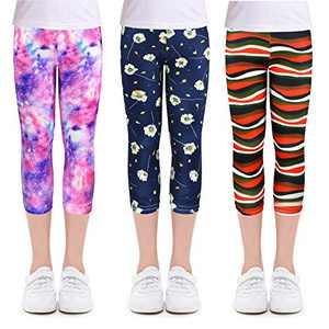 slaixiu 3-Pack Printing Flower Girl Leggings Kids Classic Pants 4-13Y(No.80_SXUV_#140)