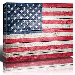 American Flag Wall Art Decor Vintage USA Country Flags Canvas Prints Painting Modern United States Red Blue Stripes Picture Stretched Framed Posters 24x32Inch Artwork Office Home Bedroom Decoration
