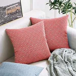 cygnus Set of 2 Farmhouse Decorative Throw Pillow Covers Cotton Woven Geometric Textured Modern Accent Cushion Cover for Couch Sofa Bed 18x18 inch,Red