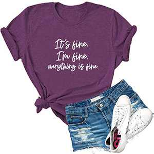 Dauocie Womens It's Fine I'm Fine Everything is Fine Short Sleeve Letter Print T Shirt Casual Novelty Graphic Tees Tops Purple