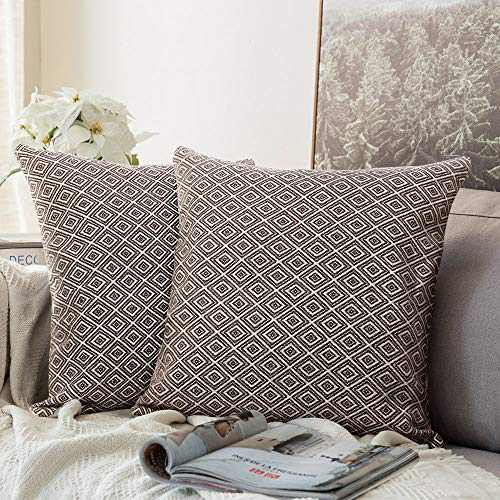 cygnus Set of 2 Farmhouse Decorative Throw Pillow Covers Cotton Woven Geometric Textured Modern Accent Cushion Cover for Couch Sofa Bed 18x18 inch,Coffee