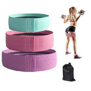 Booty Bands, Resistance Bands Set for Women Butt and Legs, Exercise Bands for Home Workout, Pilates, Yoga, Stretching, Wide Anti Slip Fabric Glute Hip Bands, Pack of 3