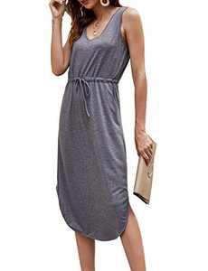 Hount Womens V Neck Sleeveless Casual T Shirt Dress Summer Swing Midi Dress with Pockets (Gray, X-Large)