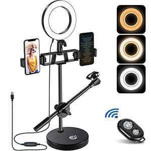 """6"""" Ring Light, EJT Multifunction(Dual Phone Holders, Microphone Stand) Dimmable LED Selfie Ring Light for Live Delivery/TikTok/YouTube Short Video"""