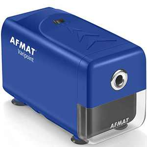 AFMAT Electric Pencil Sharpener Heavy Duty, Auto Stop Colored Pencil Sharpener for No.2/Colored Pencils(6.5-8mm), Fast Sharpen Helical Blade, School/Office/Home, Plug-in Sharpener, Blue
