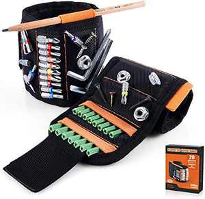Magnetic Wristband with Strong Magnets for Holding Screws, Nails, Drill Bits - Best Unique Tool Gift for Men