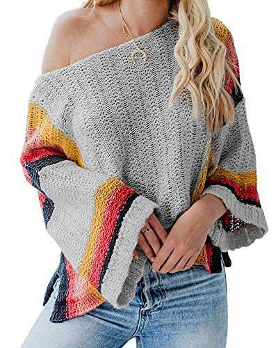 Womens Off The Shoulder Oversized Lightweight Sweaters Color Block Batwing Knit Fall Pullover Jumper Top Grey