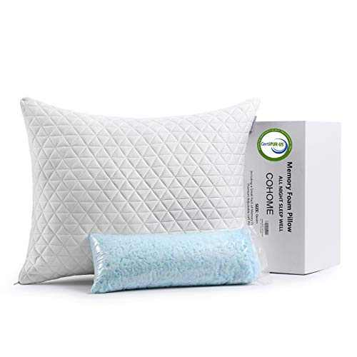 COHOME Standard Cooling Memory Foam Pillow Adjustable Cross-Cut Premium Foam Hypoallergenic Soft Bamboo Derived Rayon Cover-Washable - CertiPUR-US - Pillow for Sleeping