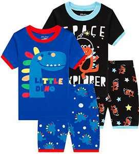 Boys Little Dinosaur Pajamas Kids Space Pyjamas 4 Pieces Children Clothes 7t