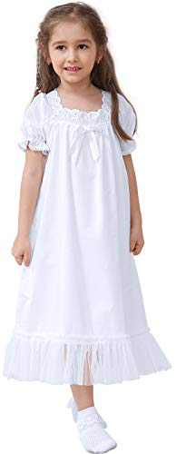 Nightgown for Girls 2T to 14, Long Cotton Vintage Pajama Dress, Princess Sleepwear Night Gown for Little Kids