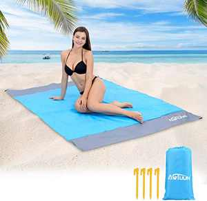 """Awtuun Sandfree Beach Mat, Extra Large 79""""X55"""" Portable Beach Blanket Waterproof Quick Drying Outdoor Beach Mat with 4 Stakes for Beach, Camping, Hiking and Picnic (Gray-Blue-Gray)"""