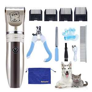 Rekidm Dog Clippers Pet Clippers, Professional Dog Grooming Clippers Kit with Bag Storage, Low Noise Cordless Dog Hair Trimmer Full Kit with Combs, Rechargeable and Heavy-Duty Motor