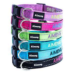Personalized Dog Collar Adjustable Dog Collar Fadeproof Custom Embroidered with Pet Name and Phone Number, 11 Thread Color Options for Boy and Girl Dogs