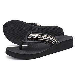 UTENAG Women's Platform Flip Flops Casual Comfort Sandals Wedge Thong Slippers Lightweight Summer Flats Black Gold