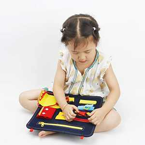 CS COSDDI Toddler Busy Board - Sensory Toys for Toddlers 3-4 - Preschool Educational Toys for Toddlers Learning Dress Skill,Learn to Tie Shoes - Travel Toys for Airplane or car - Autism Toys