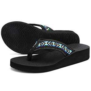 UTENAG Women's Platform Flip Flops Casual Comfort Sandals Wedge Thong Slippers Lightweight Summer Flats Blue