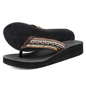 UTENAG Women's Platform Flip Flops Casual Comfort Sandals Wedge Thong Slippers Lightweight Summer Flats Brown