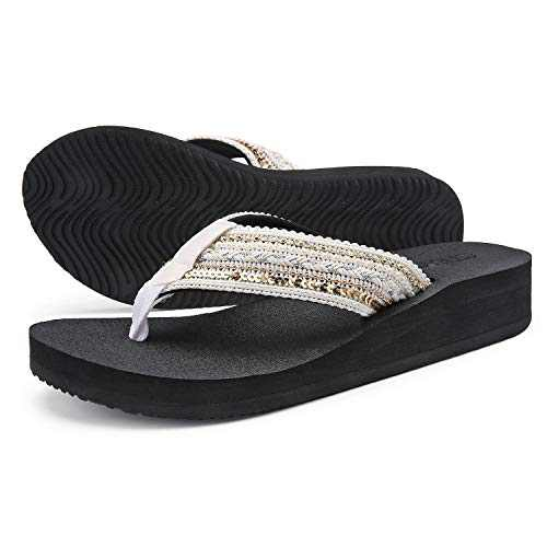 UTENAG Women's Platform Flip Flops Casual Comfort Sandals Wedge Thong Slippers Lightweight Summer Flats Beige