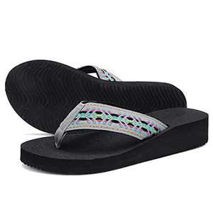 UTENAG Women's Platform Flip Flops Casual Comfort Sandals Wedge Thong Slippers Lightweight Summer Flats Grey Multi