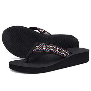 UTENAG Women's Platform Flip Flops Casual Comfort Sandals Wedge Thong Slippers Lightweight Summer Flats