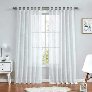 """Central Park White Tab Top Sheer Metallic Window Curtain Linen Fabric for Living Room& Bedroom Sparkling Decorative with 7 Tab Top Loops Bliss Farmhouse Curtains, 50"""" x 84"""", 1 PK"""
