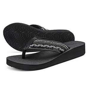 UTENAG Women's Platform Flip Flops Casual Comfort Sandals Wedge Thong Slippers Lightweight Summer Flats Black Grey