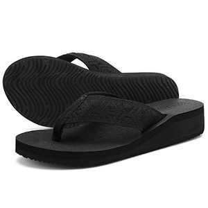 UTENAG Womens Wedge Flip Flops Casual Comfort Sandals Platform Thong Slippers Lightweight Summer Flats Black