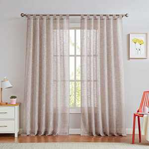 """Central Park Blush Pink Tab Top Sheer Metallic Window Curtain Linen Fabric for Living Room& Bedroom Sparkling Decorative with 7 Tab Top Loops Bliss Farmhouse Curtains, 50"""" x 84"""", 1 PK"""