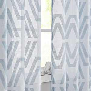 """Central Park Blue White Sheer Window Curtain Panel Geometric Jacquard Design for Rustic Living Room/Bedroom Linen Drape Treatment Farmhouse Curtain with 8 Grommets Top, Blue, 50"""" x 95"""", 1 Piece"""