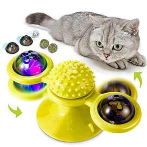 Fashion&cool Cat Toys, Windmill Cat Toy Interactive Turntable with Suction Cup and Soft Silicone Scratch Brush, Cat Catnip Toy for Indoor Cats Perfect for Cat Grooming Massage Playing