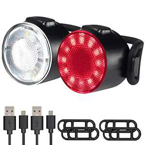 LED Bike Lights Set, USB Rechargeable Front and Back Rear Bicycle Light, IPX5 Water Resistant Mountain Road Helmet Cycle Headlight and Taillight Set for Cycling, Hiking, Camping, Outdoor (6 Modes)