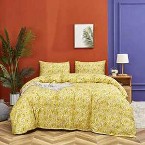 Wellboo Yellow Floral Duvet Cover Botanical Bedding Sets Cotton Queen Branches Dandelion Printed Girls Women Quilt Cover Full Teens Adult Yellow Boho Bedding Soft Health Durable 3 PCS No Insert