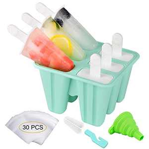 Popsicle Molds Silicone Ice Pop Maker, Morfone 6 Pieces Reusable Kids Popsicle Tray Holder BPA Free LFGB Certified Bonuses 30 Popsicle Bags, Funnel and Cleaning Brush