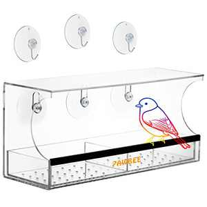 PAWBEE Window Bird Feeder - Large Wild Bird Feeder For Outside - Clear Acrylic Outdoor Bird Feeder & Removable Bird Feeder Tray - Drain Holes & Rubber Perch - Strong Suction Cups & 3 Bonus Steel Hooks