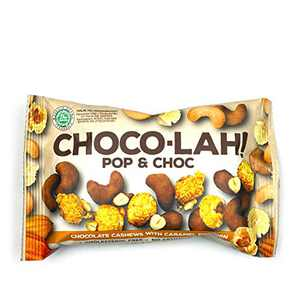East Bali Cashews - Pop & Choc Choco-lah! - Chocolate Cashews with Caramel Popcorn - Protein Packed, Non-GMO, Cholesterol Free Snack - Naturally Flavored - 10 Count - 1.06oz
