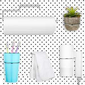 5 Pieces Pegboard Hooks Set Pegboard Paper Towel Holder, 4 Pieces Ring Style Pegboard Hooks Pegboard Organization Accessory Hook for Workshop Garage Kitchen Laundry Room Bathroom (Silver)