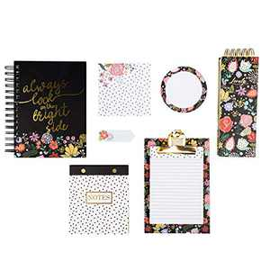 IDEO Stationery Gift Set Organizer with 3 Notebook,stickynotes,clipboard,Perfect for Notes, Homework, Recipes, Lists, and More (Black)