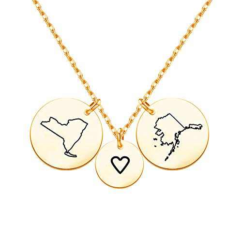 Best Friend Long Distance Relationships Gifts for Her, Personalized Country States Disc Necklace Engraved Custom Friendship Necklace Jewelry Gift for Women