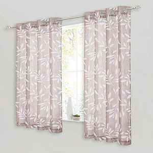 NICETOWN White Leaf Pattern Sheer Linen Curtains for Bedroom, Eyelet Top Decorative Semi Sheer Window Curtain Drapes with Light Filtering for Home Office, Taupe, W50 x L63, 2 Pieces