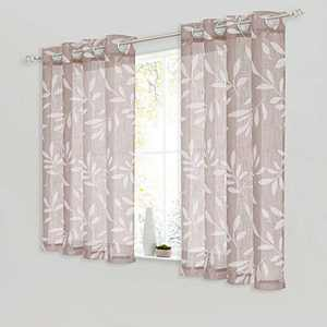 """NICETOWN Linen Sheer Curtains Taupe & White Leaf Pattern, Grommet Top Semi Sheer Privacy with Light Filter Decorative Short Window Drapes for Kitchen/Cafe, 50"""" Wide by 45"""" Long, Set of 2"""