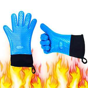 Long Silicone Grill Gloves Heat Resistant Oven Mitts & Potholders for Barbecue, Cooking, Baking. Wrist Protected Waterproof BBQ Kitchen Oven Gloves, Cotton Layer, Non-slip Pizza Oven Grill Accessories