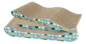 RUMUUKE Cat Scratcher Cardboard 3 Packs Cat Scratching Pad Lounge Bed Corrugated Cat Scratch Pad with Catnip Durable Reversible