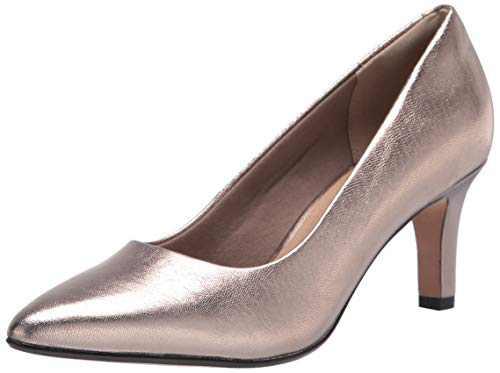 Clarks womens Illeana Tulip Pump, Metallic Leather, 9.5 US